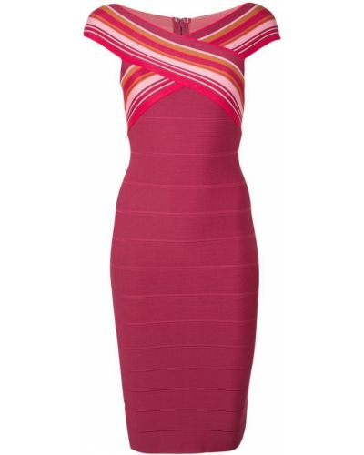 Платье миди с открытыми плечами - красное Herv Lger