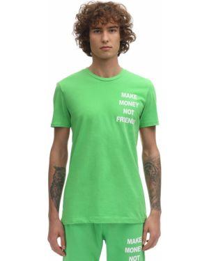 Zielony t-shirt bawełniany z printem Make Money Not Friends