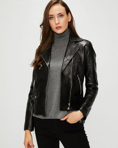 Кожаная куртка с карманами утепленная Silvian Heach