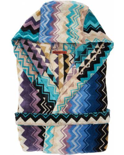 Niebieski szlafrok bawełniany z paskiem Missoni