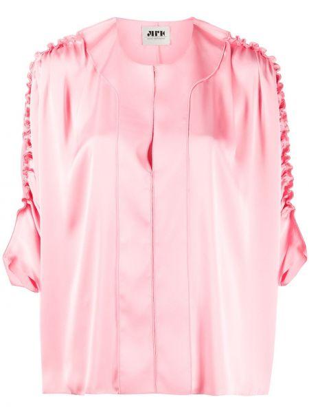С рукавами розовый топ с круглым вырезом круглый Maison Rabih Kayrouz