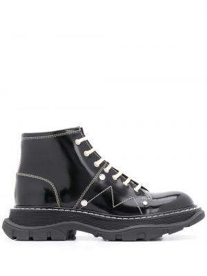 Skórzany czarny buty okrągły zasznurować Alexander Mcqueen