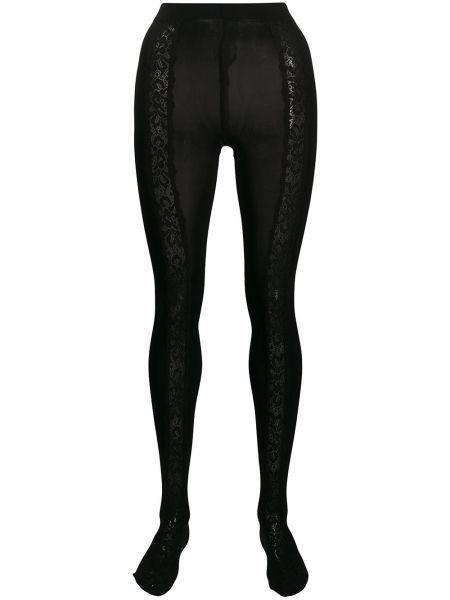 Хлопковые ажурные черные колготки Dolce & Gabbana