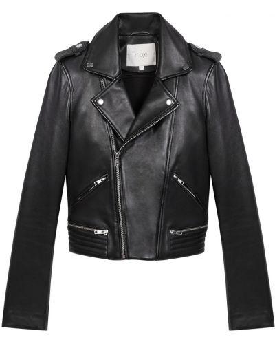 Черная кожаная куртка на молнии Maje