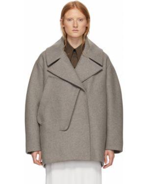Коралловое шерстяное длинное пальто с накладными карманами с воротником Studio Nicholson