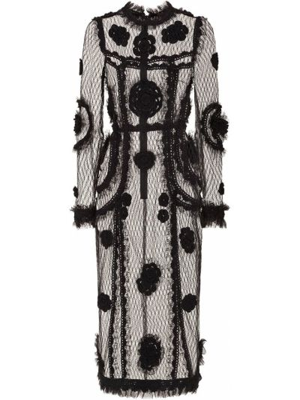 Приталенное черное платье миди с воротником Dolce & Gabbana