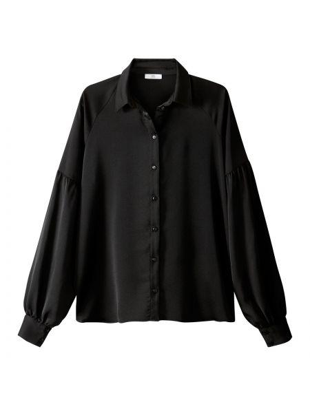 Однобортная черная рубашка с воротником с длинными рукавами La Redoute Collections
