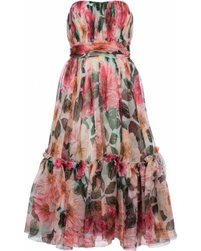Шифоновое платье миди без бретелек Dolce & Gabbana