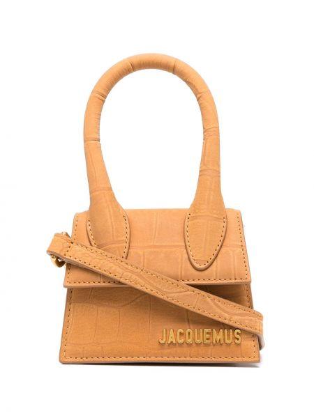 Золотистая кожаная коричневая маленькая сумка Jacquemus