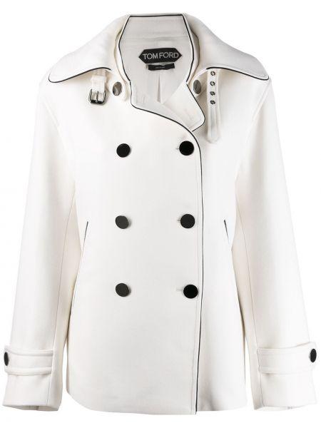 Белое шерстяное пальто классическое с воротником с пряжкой Tom Ford