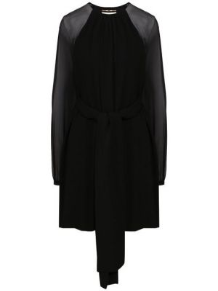 Платье с поясом с прозрачными рукавами черное Saint Laurent