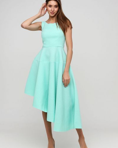 Асимметричное зеленое вечернее платье без рукавов City Goddess