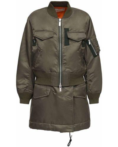 С рукавами нейлоновое укороченное пальто хаки с карманами Sacai