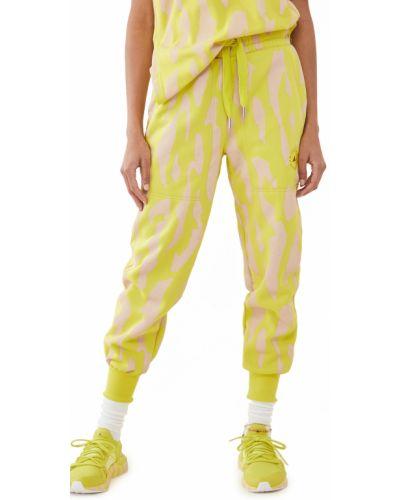 Prążkowane zielone joggery bawełniane Adidas By Stella Mccartney