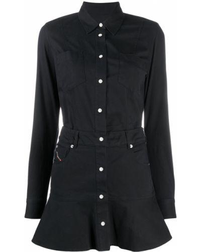 Черное платье макси с воротником на пуговицах Diesel
