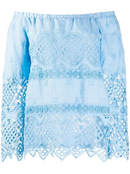 С рукавами синий ажурный топ со спущенными плечами Temptation Positano