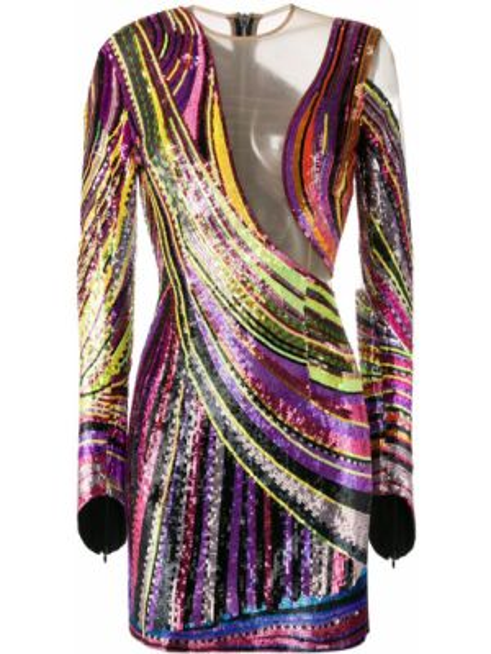 Платье мини с пайетками на молнии Balmain