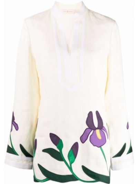 Biała tunika bawełniana z długimi rękawami Tory Burch