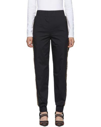 Черные брюки дудочки стрейч с манжетами Fendi