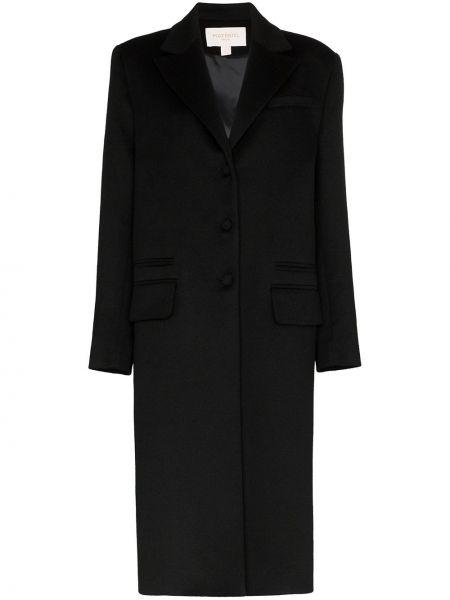 Черное кашемировое длинное пальто с капюшоном Matériel