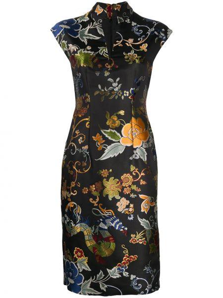 Шелковое облегающее платье с V-образным вырезом с воротником на молнии Etro