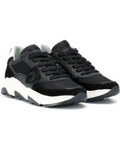 Кожаные черные кроссовки со вставками на шнуровке Philippe Model Kids