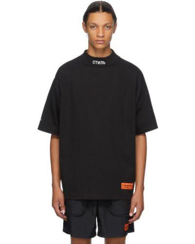 Bawełna czarny koszula z haftem z kołnierzem Heron Preston