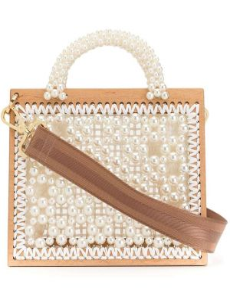 Белая соломенная сумка-тоут с жемчугом 0711