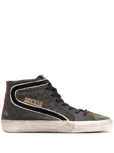 Ażurowy skórzany czarny wysoki sneakersy z łatami Golden Goose