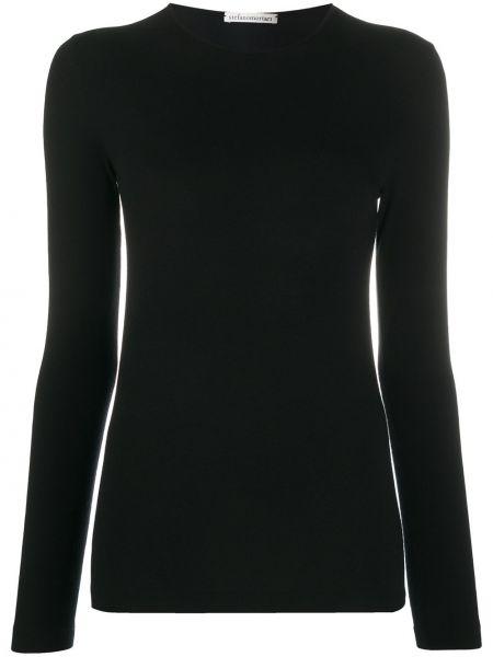 Прямая приталенная черная футболка с круглым вырезом Stefano Mortari
