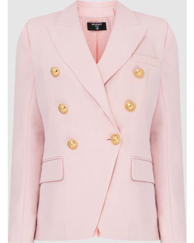 Розовый шерстяной пиджак Balmain