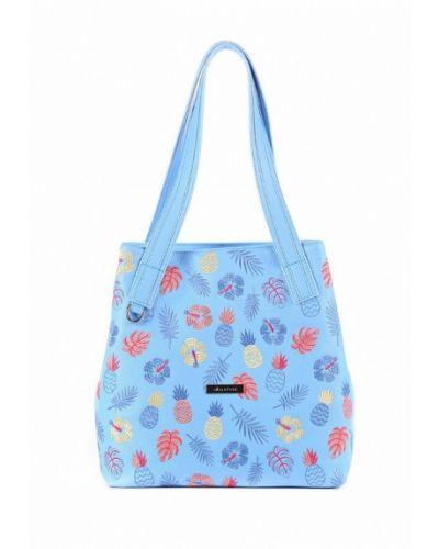 Голубая кожаный сумка Alba Soboni