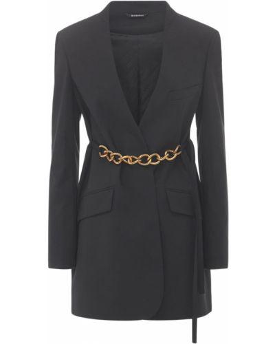 Wełniany czarny kurtka z paskiem Givenchy