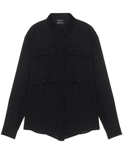 Блузка полупрозрачная - черная Anthony Vaccarello