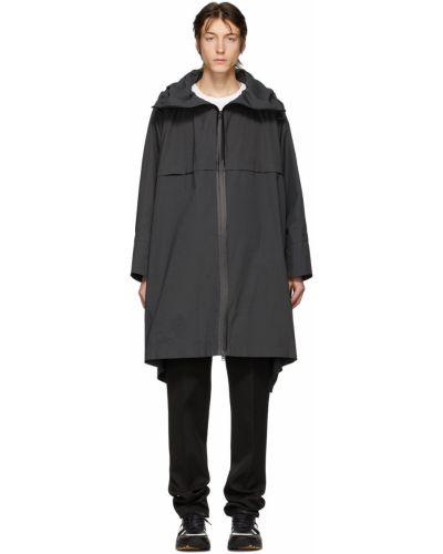Szary długi płaszcz z kapturem asymetryczny Bottega Veneta
