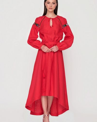 Летнее платье весеннее красный Garmoniya