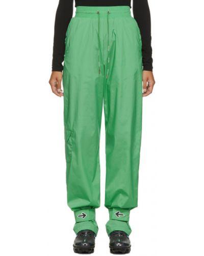 Nylon zielony spodnie rozciągać z mankietami Off-white