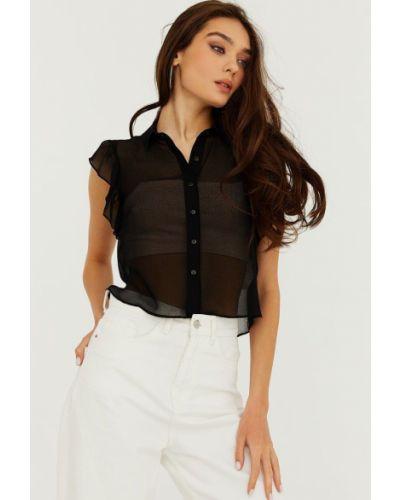 Черная шифоновая блузка Gepur