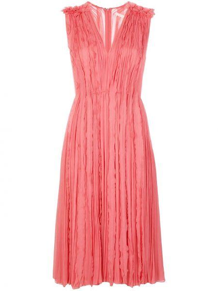 Розовое платье миди с оборками без рукавов на молнии Jason Wu Collection