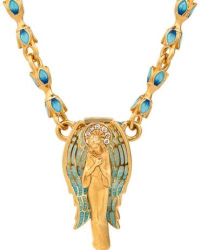Золотистый крест золотой с фианитом ювелия