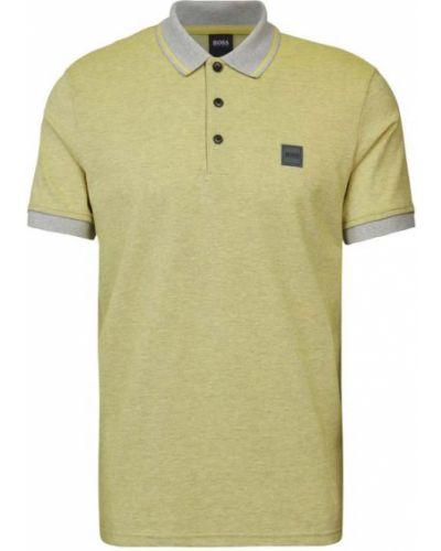 Żółty t-shirt w paski bawełniany Boss Casualwear