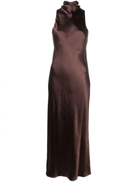 Расклешенное коричневое платье миди без рукавов Vince.