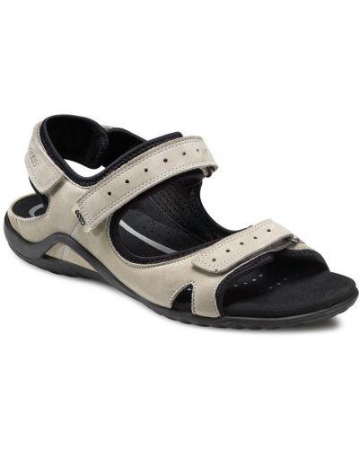 Сандалии бежевые на каблуке Ecco