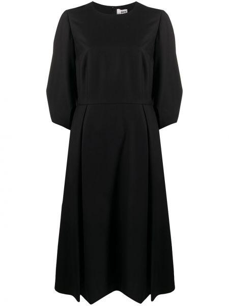 Свободное кашемировое черное платье с рукавами круглое Comme Des Garçons Noir Kei Ninomiya
