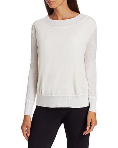 Шерстяной белый пуловер с длинными рукавами Chiara Boni La Petite Robe