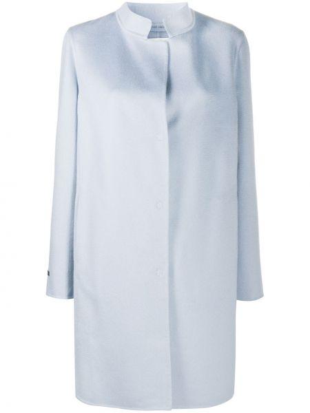 Синее кашемировое длинное пальто с воротником Manzoni 24