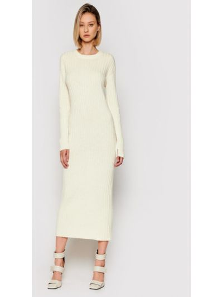 Beżowa sukienka dzianinowa Liviana Conti