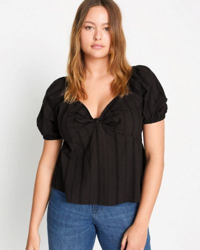 Черная блузка с коротким рукавом с короткими рукавами Violeta By Mango