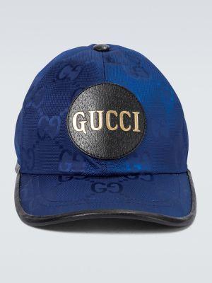 Niebieski kapelusz skórzany oversize Gucci