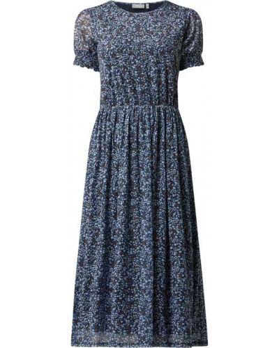 Niebieska sukienka mini rozkloszowana krótki rękaw Fransa